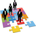 Business people solution resources puzzle Stock Images