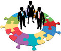 Business people team circular puzzle solution Royalty Free Stock Photography