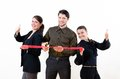 Business people team cutting red ribbon Royalty Free Stock Image