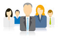 Business people team icons five businessman icon avatars together as a Royalty Free Stock Images