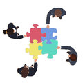 Business People team with jigsaw puzzle pieces. Finance solution concept. Royalty Free Stock Photo