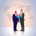 Business People Team Silhouette Businessman Hold Document Folders Over World Map Royalty Free Stock Photo