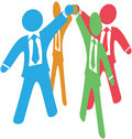 Business people team up work join hands Stock Photo