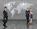 Business people team with world map on the wall elements of this image furnished by nasa Royalty Free Stock Photo