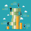 Business people try to climbing money mountain infographic Royalty Free Stock Photo