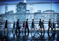 Business people walking commuter rush hour ny concept Stock Photography