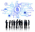 Business People Working and Network Security Concept Royalty Free Stock Photo