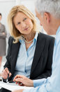Business people working together close up discussing in office Royalty Free Stock Image