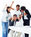 Business people working together on a laptop Royalty Free Stock Photo