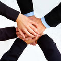 Business peoples hands showing unity Stock Images