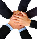 Business peoples hands showing unity Royalty Free Stock Photos