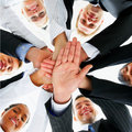 Business peoples hands showing unity Stock Photo