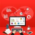 Business Person Analyzes Data Economy Statistics. Business Statistics Concept Royalty Free Stock Photo