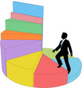 Business person climbs stair step pie chart Royalty Free Stock Photo