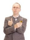 Business person drinking a glass of champagne Stock Images