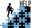 Business person find help solution man climbing problem puzzle to Royalty Free Stock Photography