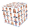 Business person group cube collage isolated on white background Royalty Free Stock Images