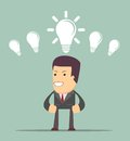 Business person having an bright idea light bulb concept Royalty Free Stock Photo