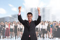 Business person stands foreground men on the blurred crowd over white background Royalty Free Stock Photos