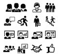 Business persons icons vector black set on white Stock Photo