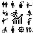 Business persons icons vector black set on white Royalty Free Stock Photos