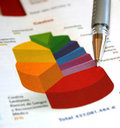 Business pie chart report Stock Images