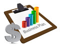 Business plan chart and currency Stock Photography