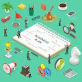 Business plan flat isometric vector concept. Royalty Free Stock Photo