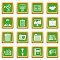 Business plan icons set green Royalty Free Stock Photo