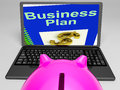 Business Plan On Laptop Showing Business Strategies Royalty Free Stock Photo
