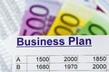 Business plan a for starting a ideas and strategies for self employment euro banknotes Royalty Free Stock Images