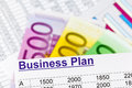 Business plan a for starting a ideas and strategies for self employment euro banknotes Royalty Free Stock Photo