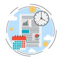 Business plan, time management, financial report concept Royalty Free Stock Photo
