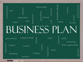 Business Plan Word Cloud Concept on a Blackboard Stock Image