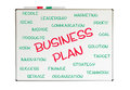 Business plan word cloud written on a chalkboard Royalty Free Stock Photo