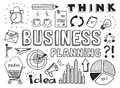 Business planning doodles elements hand drawn vector illustration set of isolated on white background Stock Image