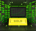 Business positive graph forecast or results of gold commodity Royalty Free Stock Photo