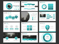 Business presentation infographic elements template set, annual report corporate horizontal brochure design