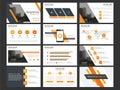 Business presentation infographic elements template set, annual report corporate horizontal brochure design