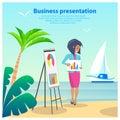 Business Presentation Woman Vector Illustration