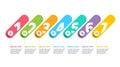 Business process chart infographics with 7 step circles. Circula