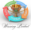 Business product design arrows trophy around connect parts of best winner of Royalty Free Stock Image