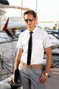 Business professional man over yacht background Royalty Free Stock Image