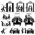 Business proposal investor pictogram this is a set of people pictograms that represent a businessman working on a to show to Stock Photo