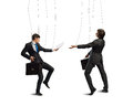 Business puppets image of a two businessman puppet doll pass each other papers Royalty Free Stock Photography