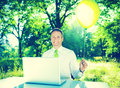 Business Relaxation Refreshing Freedom Nature Concept Royalty Free Stock Photo