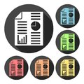 Business report icons set with long shadow