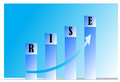 Business rise in shown as a bar chart Royalty Free Stock Photography