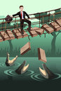 Business risk concept a vector illustration of where a businessman walking on a broken bridge with dangerous crocodiles underneath Royalty Free Stock Photos