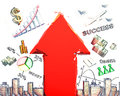 Business scheme with red arrow Royalty Free Stock Photo